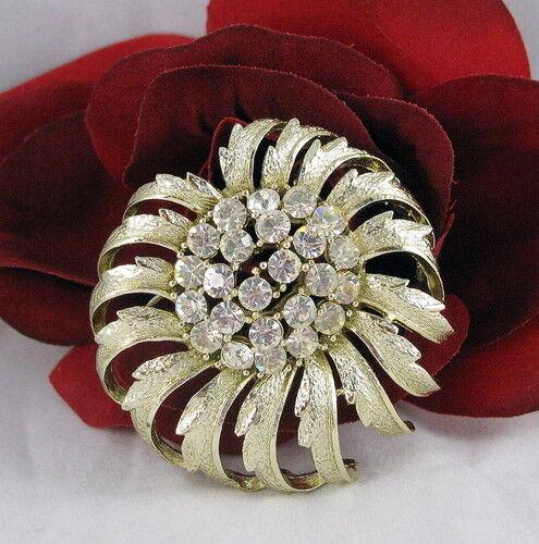 Vintage Dazzling Rhinestone Flower Pin CAT RESCUE