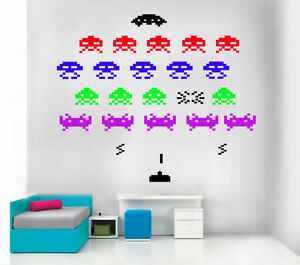 Space invaders stickers vinyl wall art 45 graphics ebay - Space invader wall stickers ...