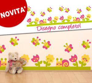 ... Wall Stickers Adesivi murali Fiori, lumache e farfalle 120x37cm eBay