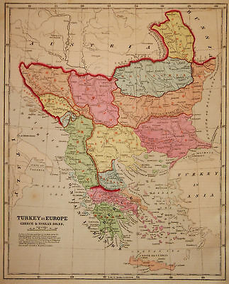 1856 Genuine Antique map of Turkey & Greece. C. Morse