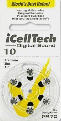 60 Hearing Aid Batteries  Size 10  Free Usa Shiping