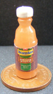 Dolls-House-Miniature-Plastic-Bottle-Of-Brown-Sauce-B