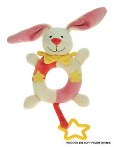 FREE-POST-baby-soft-plush-toy-BUNNY-RING-RATTLE-NEW
