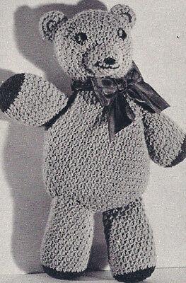 Vintage Crochet Pattern Teddy Bear Animal Soft Toy