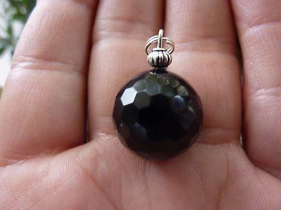 Pendentif Sphere Obsidienne Noire A Facettes 1.7 Cm