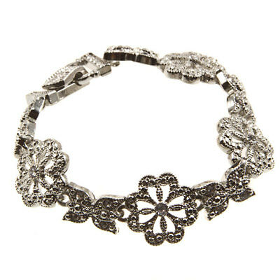 7 3/4 Silver Tone Clear Rhinestone Cz Flower Butterfly Magnetic Clasp Bracelet