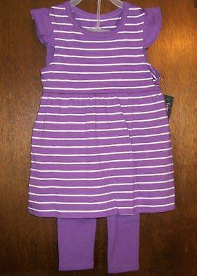 Girls Pant Set Sz 4 Faded Glory Organic Cotton Purple&white Striped&solid
