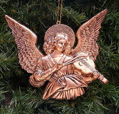 Antique Gold Angel Playing Violin Christmas Ornament