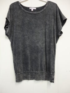 Forever 21 acid washed women's loose neck top Sz L / charcoal