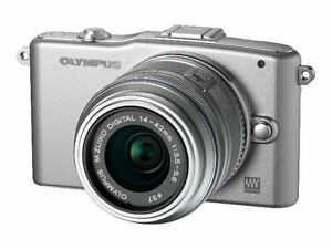 Olympus-E-PM1-SILVER-Digital-Camera-with-14-42mm-II-R-Lens-MEMORY-and-MORE