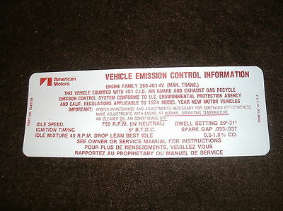 1974 Amc Javelin Amx 401 V8 Engine Emissions Decal 4sp
