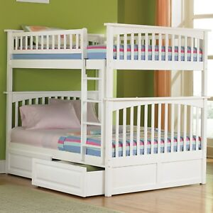 Girls White Bunk Bed Full over Full Storage Trundle