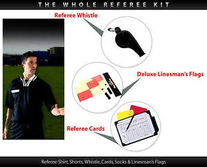 All in one Football Referee Kit Shirt Shorts Socks S-XL