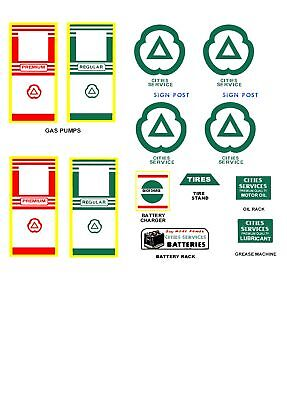 Marx Cities Service Toy Service Station Decal Set