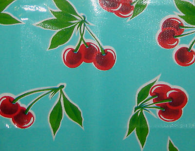 Stella Retro Aqua Blue Vtg Style Cherry Oilcloth Material Fabric Craft Kitchen