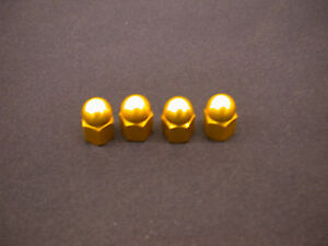 SET OF 4 GOLD ANODISED LIGHTWEIGHT ALLOY WHEEL NUTS FOR OLD SCHOOL BMX 80's NOS