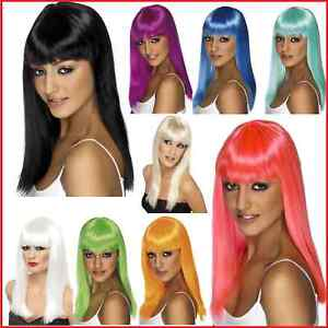 Ladies-Black-Blonde-White-Neon-Wigs-Long-Straight-Wig