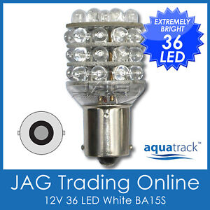 12V-36-LED-BA15S-1156-WHITE-GLOBE-Automotive-Car-Caravan-Boat-Trailer-Light-Bulb