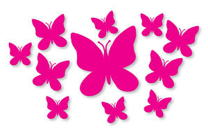 20 Hot Pink Butterfly Stickers, Car, Wall, Design 2