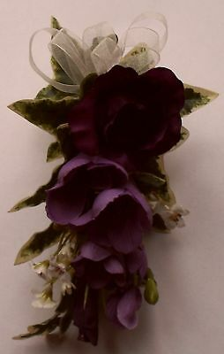 Purple Lisianthus Freesia Corsage Artificial Silk Wedding Flower Buttonhole