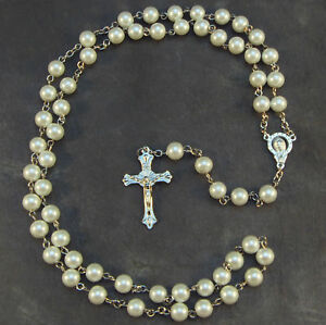 Christian-white-metal-long-rosary-beads-Our-Lady-center