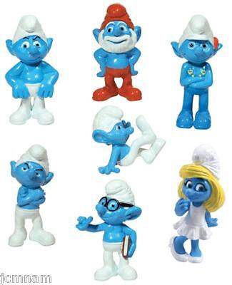 Smurfs Figures Figurines 7 Pc Complete Set Cake Topper Party Favors
