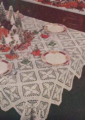 Vintage Crochet Pattern Christmas Tablecloth Design