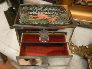 ancienne boite a bijou coffret en glace miroir ebay. Black Bedroom Furniture Sets. Home Design Ideas