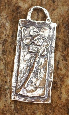 Rustic Sterling Silver Artisan Long Stemmed Flower Charm 105s