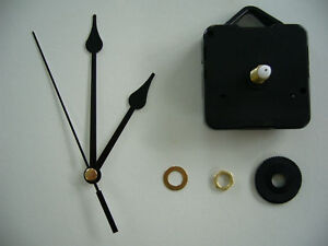 QUARTZ-CLOCK-MOVEMENT-MEDIUM-SPINDLE-91mm-BLACK-HANDS