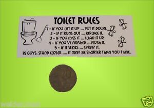 Toilet rules - decal sticker - Aust made **free post**
