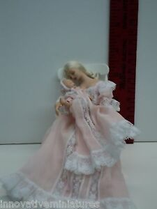 Miniature-Porcelain-Doll-Mother-in-Rocker-Holding-Baby-Pink-Handmade