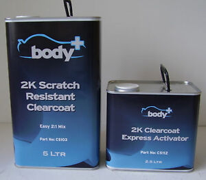 Body+ 2k Clearcoat 5ltr Lacquer / Ex Activator 7.5L Kit