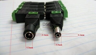 5x Male & Female Dc Power Jack Adapter Connector Plug
