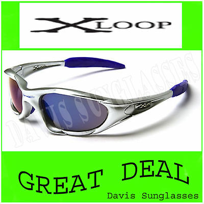 Men's Designer X Loop Sunglasses Xl0107 Uv400 Davis H8 Silver Blue Sunnies