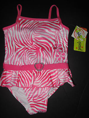 Penelope Mack Pink Zebra Stripe Swimsuit 2t/4t