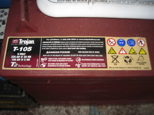 TROJAN USA DEEP CYCLE BATTERY 6V T105 T2  225 AMP HOUR BOATS GOLF BUGGIES NEW