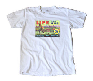 Vintage life brand pear crate label t shirt fly fishing for Fishing t shirts brands