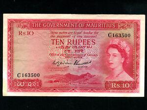 Mauritius-P-28-10-Rupees-1954-Queen-Elizabeth-II