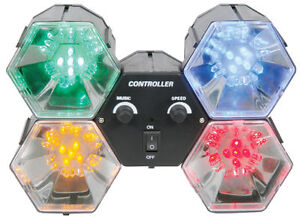 4-Way Different Coloured LED Disco Party Light with Reflector Sound Activated
