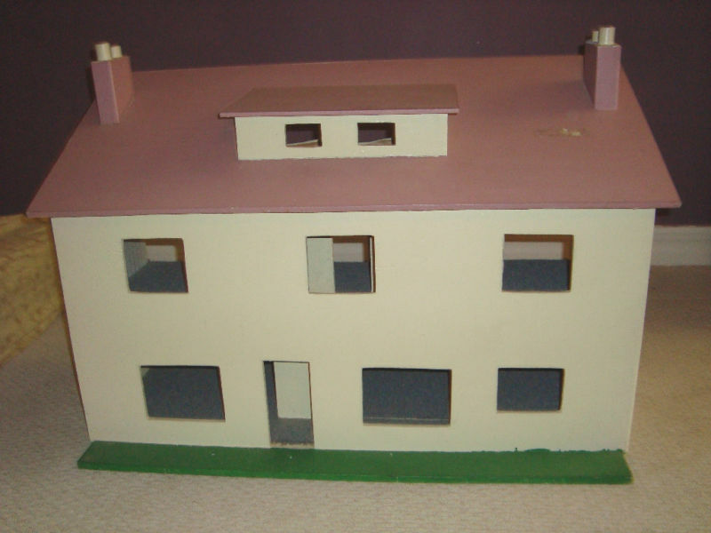 GREAT VINTAGE DOLLHOUSE 2 STORY HAND MADE ENTIRELY of WOOD~  PICK UP ONLY