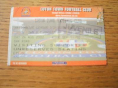24/08/2002 Ticket: Luton Town v Barnsley  (Creased & Fo