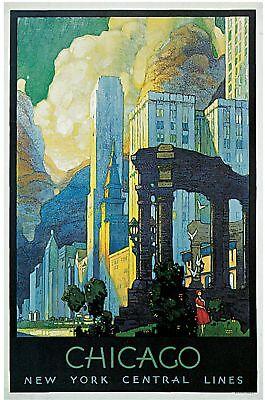 1929 New York Chicago Illinois Lines Art Vintage Travel Advertising Poster Print