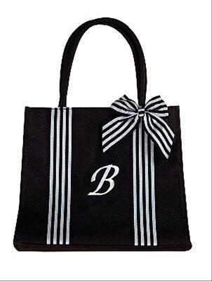 Isabella's Journey Monogram Black Canvas b Fashion Tote Bag