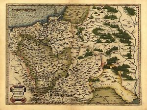 A1 Colour Poland, Lithuania West Russia Old Antique Map