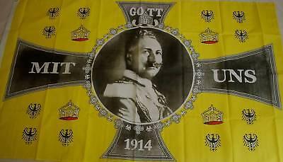 Gott mit uns 1914 Kaiser Wilhelm Adler Deutschland DR Fahne Flagge 359