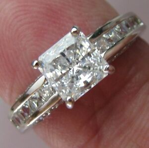 1.72 CT PRINCESS CUT ENGAGEMENT RING 14K SOLID White GOLD SOLITAIRE Anniversary