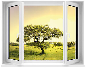 Sticker fen tre trompe l 39 oeil arbre ebay for Stickers fenetre opaque