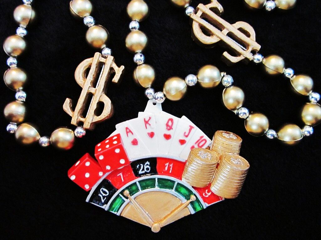casino Mardi Gras Necklace Bead Dice Cards Roulette Wheel Dollar Signs (b416)