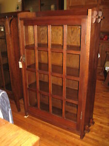 G-Gustav-Stickley-Mission-1-Door-Bookcase-715-Signed